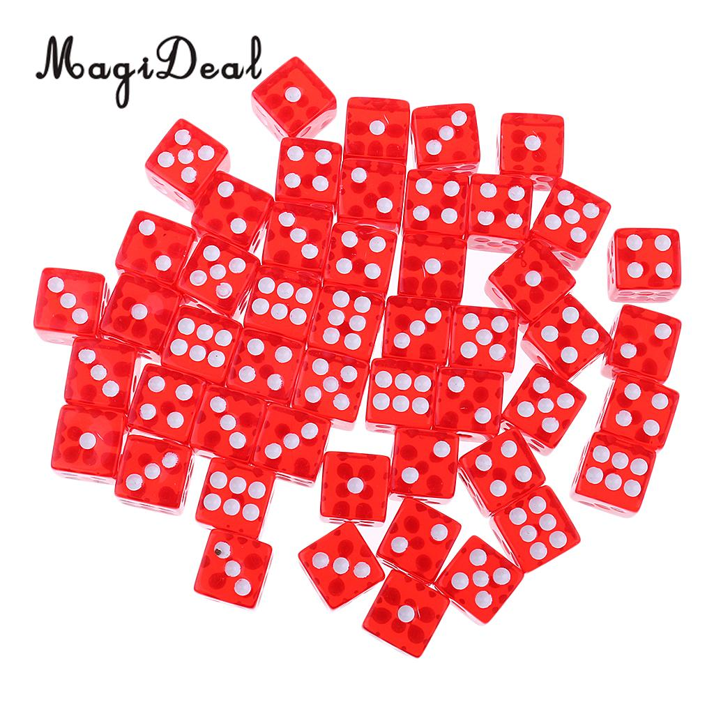 MagiDeal Hot Durable 50Pcs 12mm Acrylic Dice for Die RPG MTG Board Game Bar Club Pub KTV Entertainment Suppy Novelty Gifts Red