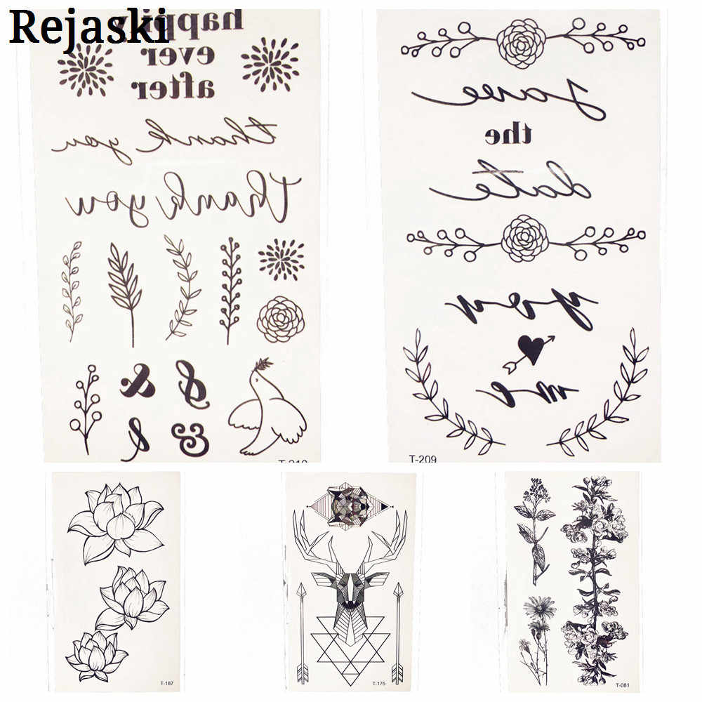 Black Leaf Waterproof Temporary Tattoo Stickers 10.5X6CM Girl Women Body Art Small Fake Summer Style Tattoo paste Children Gifts