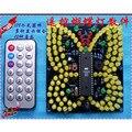 Kit DIY kit de luz música controle Remoto borboleta interessante acústico-ótico LED eletrônico suíte de produção de peças eletrônicas DIY