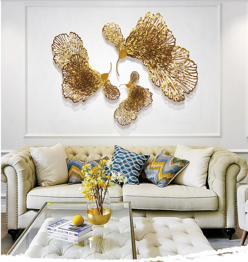 European Wrought Iron Butterfly Flower Wall Hanging Ornaments Home Livingroom Wall Mural Crafts Decoration Hotel 3D Wall Sticker - 2