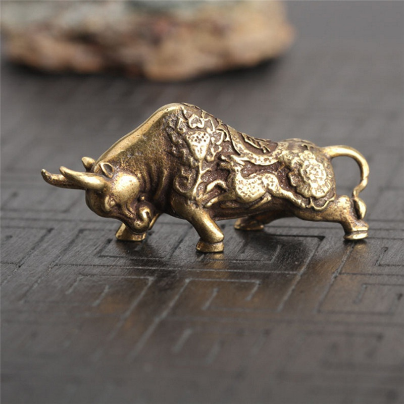 Outdoor Key Ring Handmade Solid Brass Bull EDC Keychain Pendant Key Pendant Zipper Head Accessories Tools Keychain Equipment