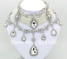 2016 European style Luxurious Macrame Rhinestone Bridal Jewelry Set Pearl Jewelry sets For Women Wedding jewelry set Accessories