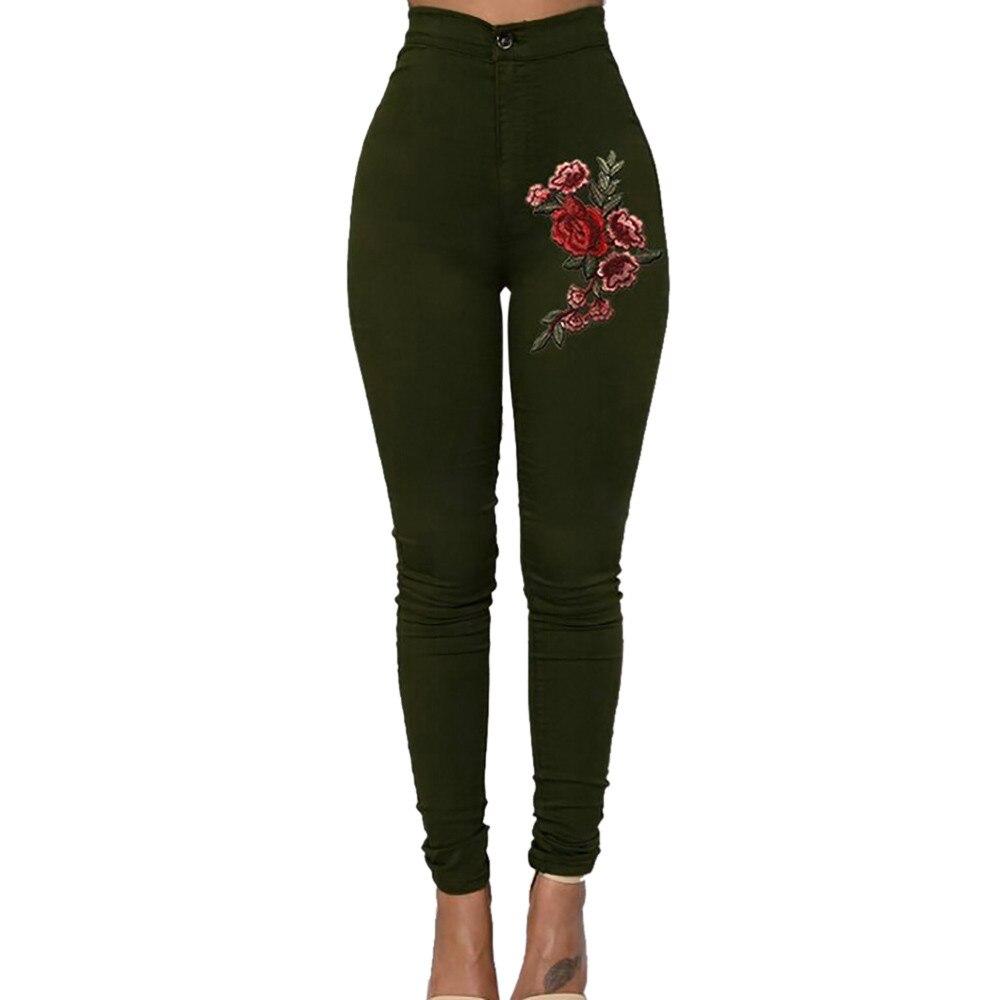 Plus Size High Waist   Jeans   Woman   Jeans   Ladies For Women 2019 Casual Floral Appliques Pockets Skinny Denim Pencil   Jeans   Feminino