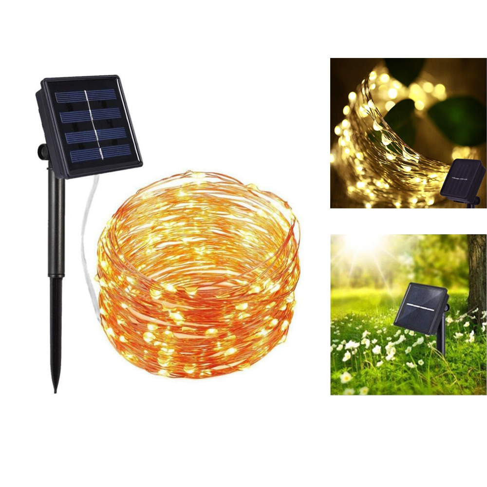 10M 20M Solar lawn lamp Outdoor LED Solar Garden lights Fairy Copper Wire LED Strings For Holiday Xmas Wedding Party Decoration ...