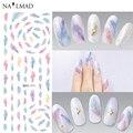 1 Hoja Pendiente de Plumas de Plumas de Colores Nail Art Calcomanías de Agua Nail Transferencia Pegatinas DS271