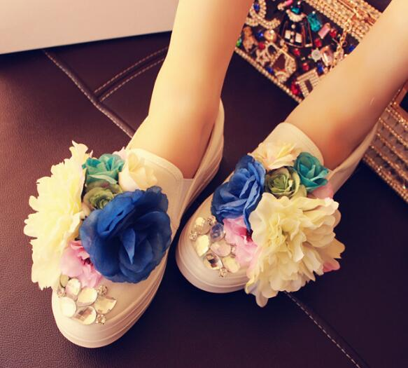 Flowers Slip On Canvas Shoes Woman 2017 Summer New Flats Dress Shoes Breathable Women Loafers Handmade Casual Shoes