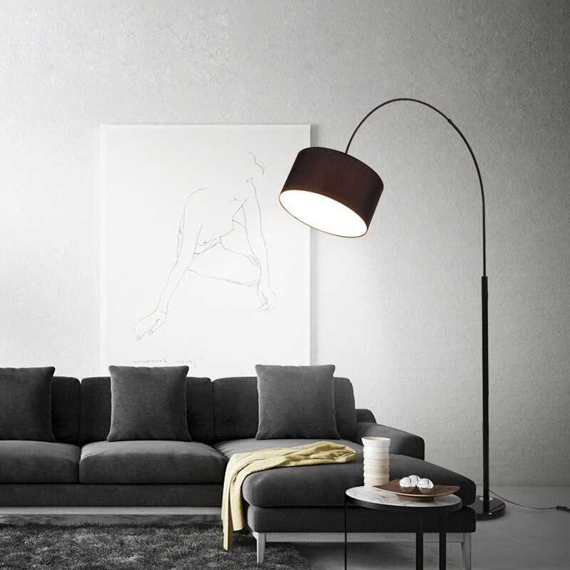 Modern Simple LED Bedroom Floor Lamps Living Room Black