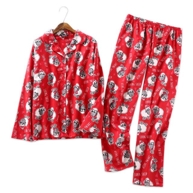fad9834121 Lovely ovejas 100% algodón cepillado mujeres dormir pijamas abrigo conjunto  pj pijama sexy femme rojo