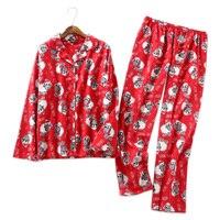 Lovely sheep 100% brushed cotton women nightwear warm pajamas pj set sexy pyjama femme red sleepwear pijamas mujer Plus Size