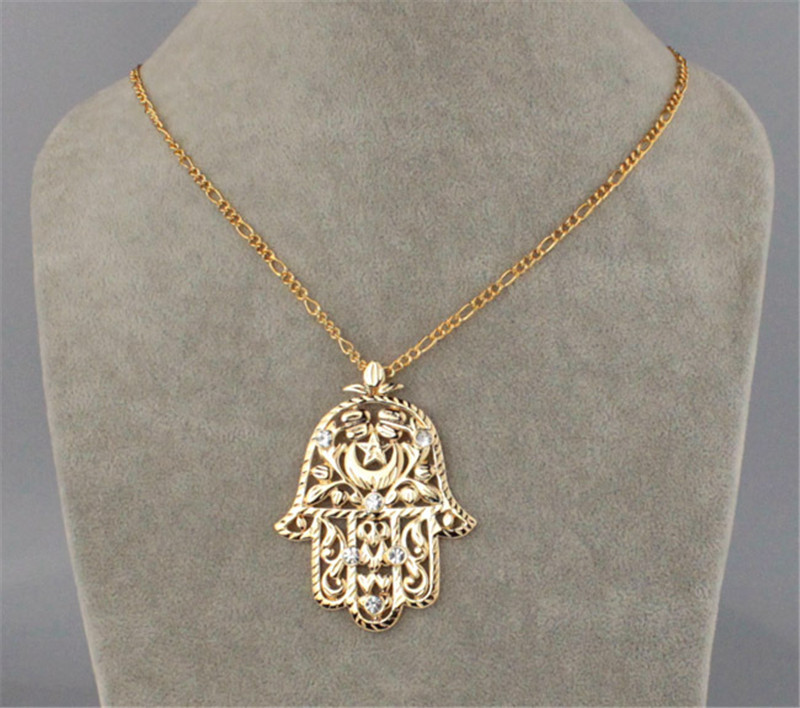 U7 big hamsa hand pendant womenmen lucky jewelry gift trendy gold u7 big hamsa hand pendant womenmen lucky jewelry gift trendy gold color rhinestone hand of fatima pendant necklaces p313 in pendant necklaces from jewelry mozeypictures Gallery