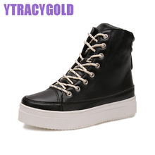 Lately Autumn Winter Fashion Boots women Genuine Leather Cool Short Barreled Boots Lace-up Heighten Casual Shoes Plataforma