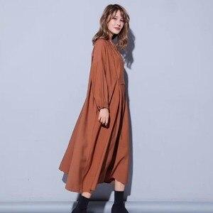 Image 5 - Vestido midi feminino, vestido midi tamanho grande gola v manga comprida solto roupas casuais para outono 2020