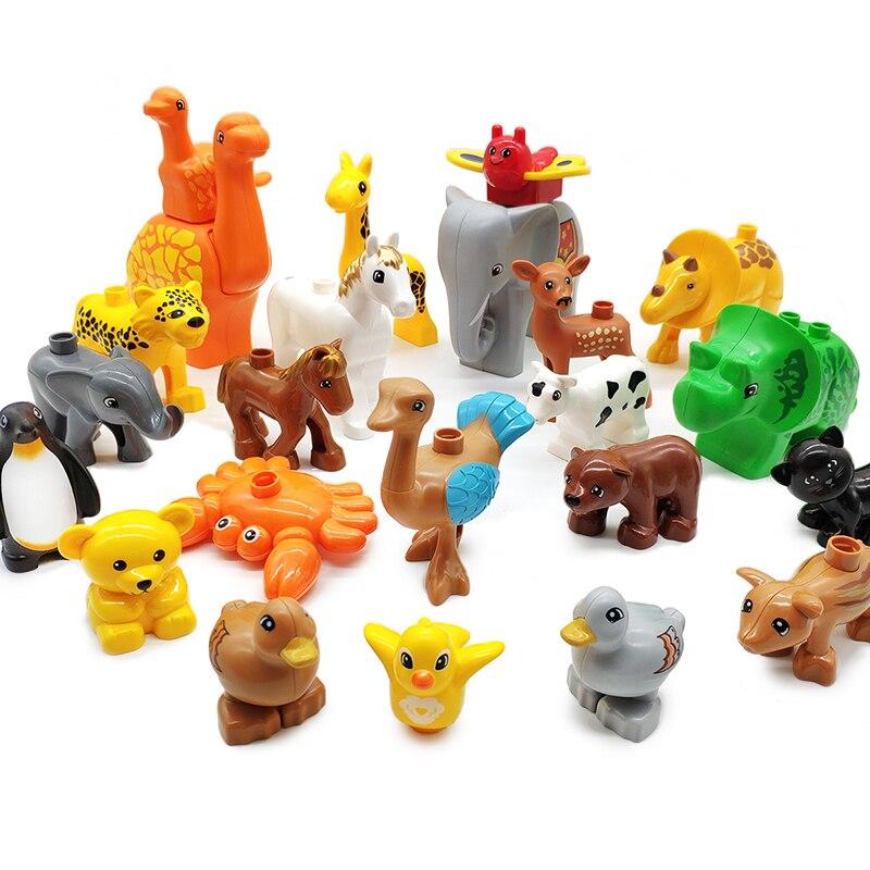 Grandes partículas modelo blocos de construção fazenda porco vaca frango ovelhas tijolos acessório crianças diy brinquedos compatíveis com duplo animais
