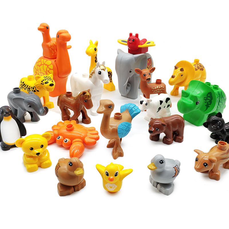 Big Particles Model Building Blocks Farm Pig Cow Chicken Sheep Bricks Accessory Children DIY Toys Compatible With Duplo Animals