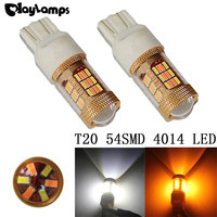 2x Dual Color 54SMD 4014 White Amber Yellow T20 7443 7440 LED Bulbs For Front Turning