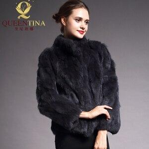 Image 3 - 2020 High Quality Real Fur Coat Fashion Genuine Rabbit Fur Overcoats Elegant Women Winter Outwear Stand Collar Rabbit Fur Jacket