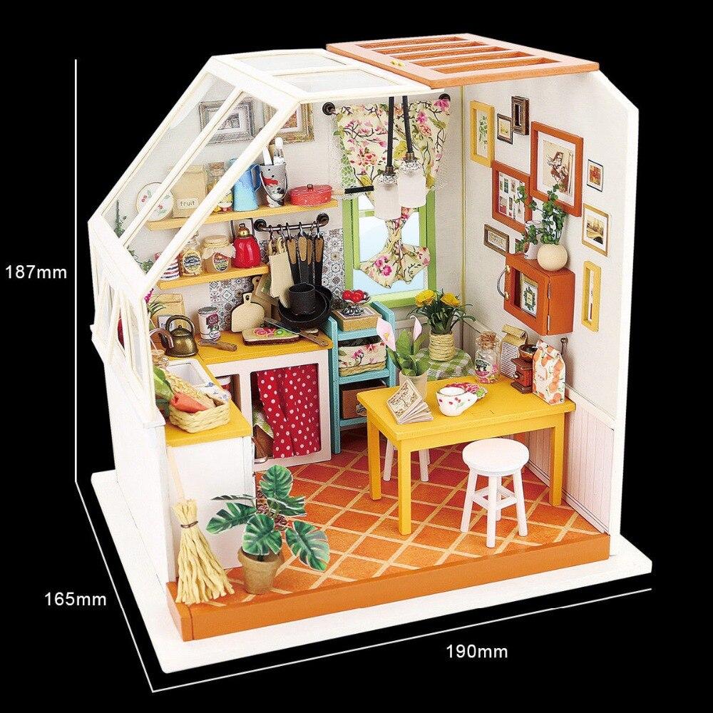 Robud DIY Miniature Jason's Kitchen Doll House Modell Byggsatser - Dockor och tillbehör - Foto 6