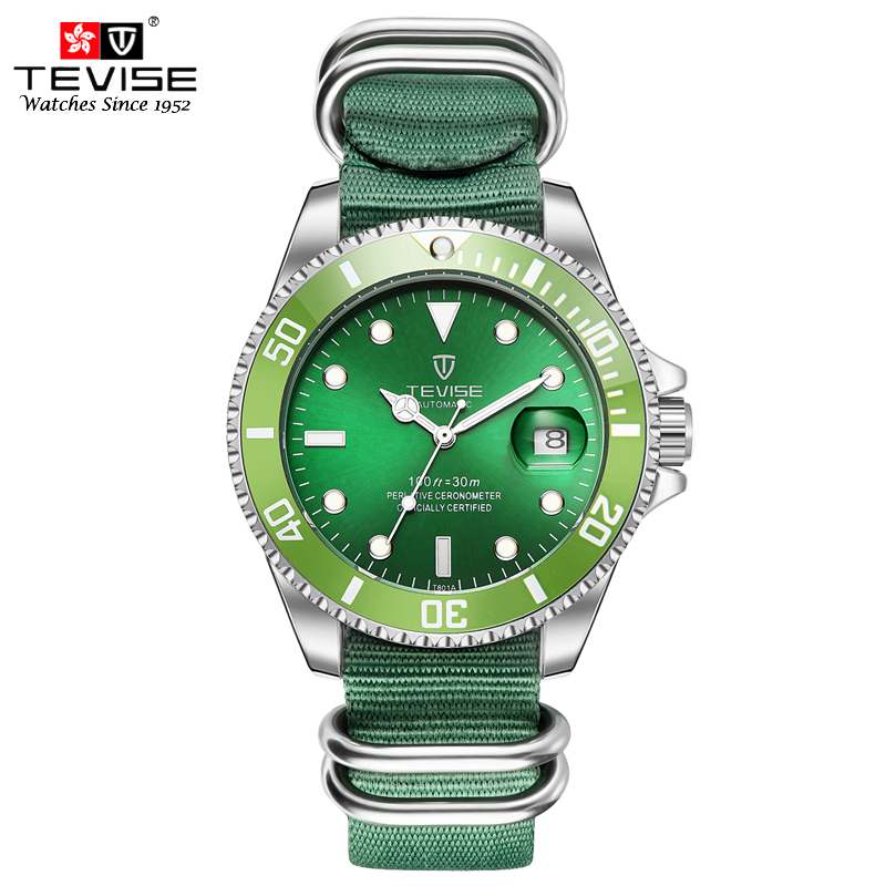 TEVISE Auto Date Automatic Self-Wind Watches Nylon Band Green Black Watch Men Mechanical Fashion Casual Clock with box luxury brand t winner self wind mechanical watch men date display watches modern stainless steel band casual men clock gift 2017