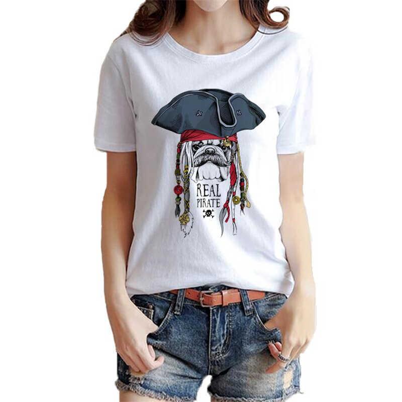 海賊犬女性のtシャツ夏のファッションoネック半袖コットンtシャツ女性漫画海賊犬プリントカジュアルtシャツトップス
