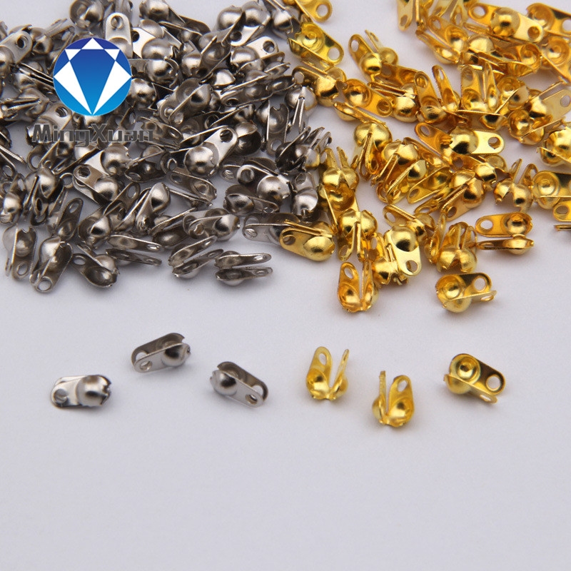 200Pcs gold/silver/Bronze/rnodium Connectors Clasps fitting 2mm/<font><b>1.5mm</b></font> <font><b>Ball</b></font> <font><b>Chain</b></font> Jewelry Accessories image