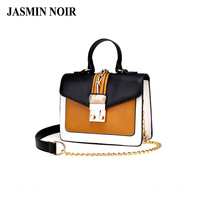 Female Retro 2017 Cross Body Bag Panelled Pu Leather Handbags Women Chain Bag Brand Design Patchwork