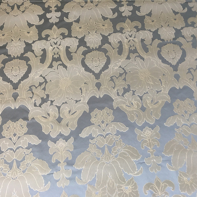 Gray Blue Damask Jacquard Woven Viscose Upholstery Sofa Armchair Cloth  Furniture Bedboard Interior Fabrics 140cm Sell
