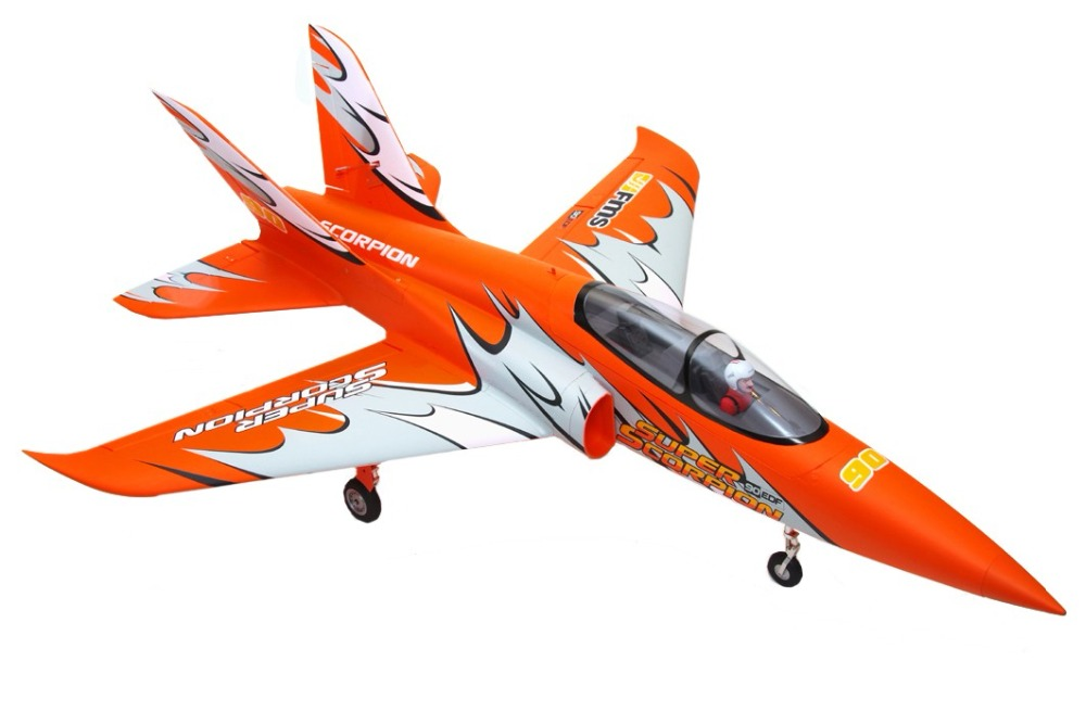 FMS RC Airplane 90mm Ducted Fan EDF Jet Super Scorpion Orange / Red High speed Big Scale Model Hobby Plane Aircraft Avion PNP