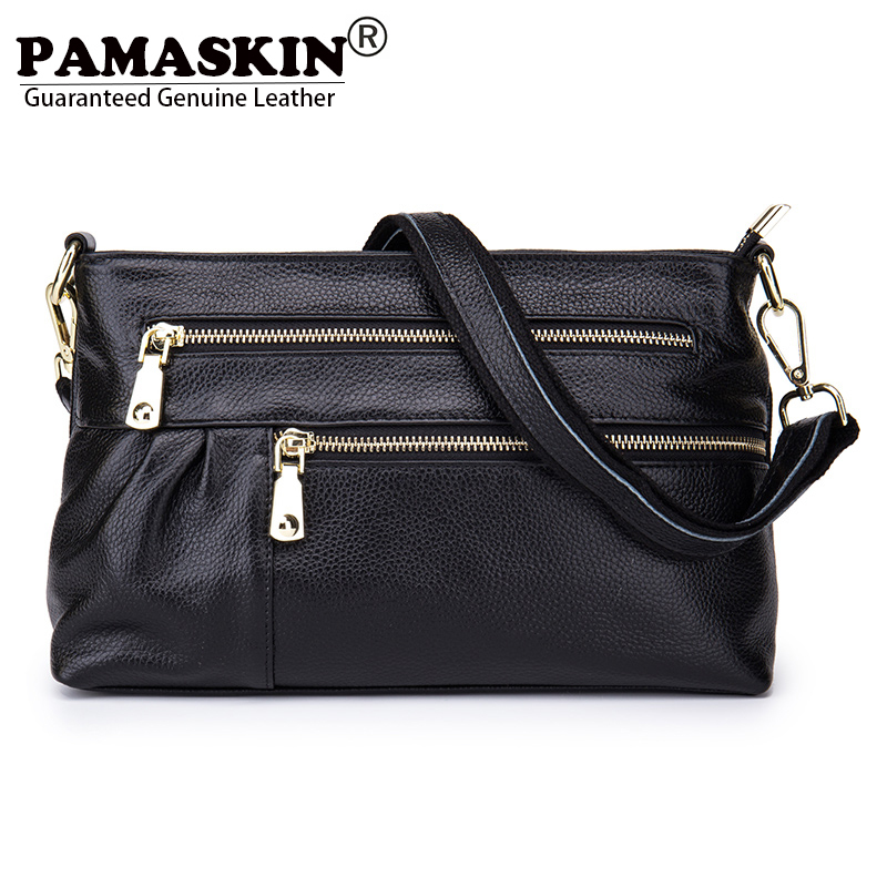PAMASKIN 2018 New Arrivals Guaranteed 100 % Genuine Leather Women Bag with Hand Rope Brand Hot Zippers Messenger Bags for Ladies new guaranteed 100