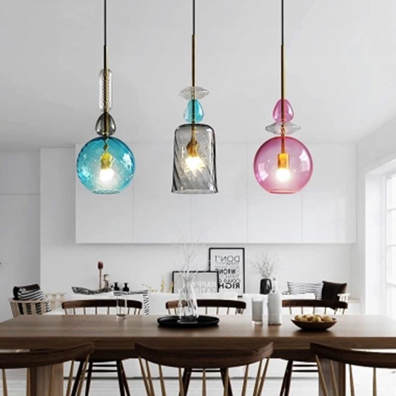 JAXLONG LED Colorful Glass Pendants Light Nordic Creative Living Room Bar Kitchen Pendant Lamp Restaurant Lighting Fixture