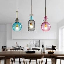 JAXLONG LED Colorful Glass Pendants Light Nordic Creative Living Room Bar Kitchen Pendant Lamp Restaurant Glass Lighting Fixture цена 2017
