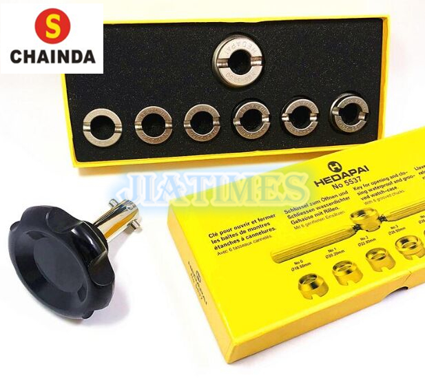5537 Grooved Watch Case Back Opening Wrench Key and Die Chuck Set with Wrench and 36.5mm Size Die 5539 universal die key watch tools holder for opening and closing watch case backs
