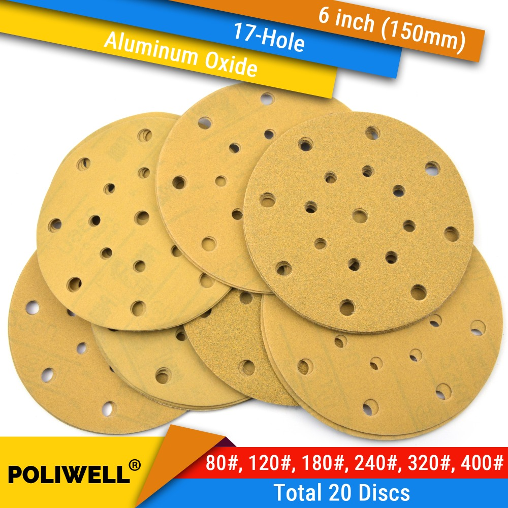20PCS 236U 6 Inch(150mm) 17-Hole 80#-400# Grit Hook & Loop Sanding Discs For Dry Sanding Round Abrasive Flocking Sandpaper