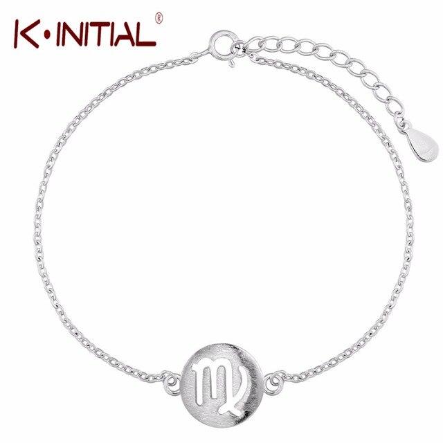 Kinitial 925 Silver New Arrival Zodiac Constellation Virgo Sign Cuff Bracelet Bangle Lovely Bracelets For