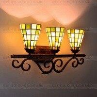 Europeu tiffany cor de vidro três hotel clube espelho do banheiro frente parede corredor lâmpada
