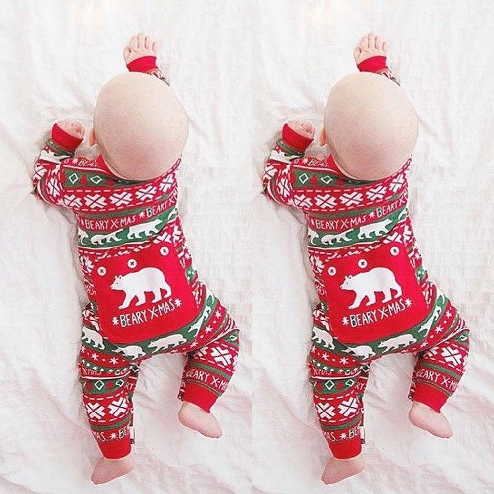 Baby Boy Girl Long Sleeve Christmas Romper stylish scoop neck half sleeve argyle print women s romper