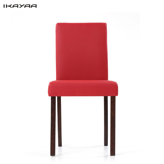 IKayaa DE Stock 2PCS/Set Modern Faux Leather Dining Chairs Wood Frame  Padded Kitchen Side