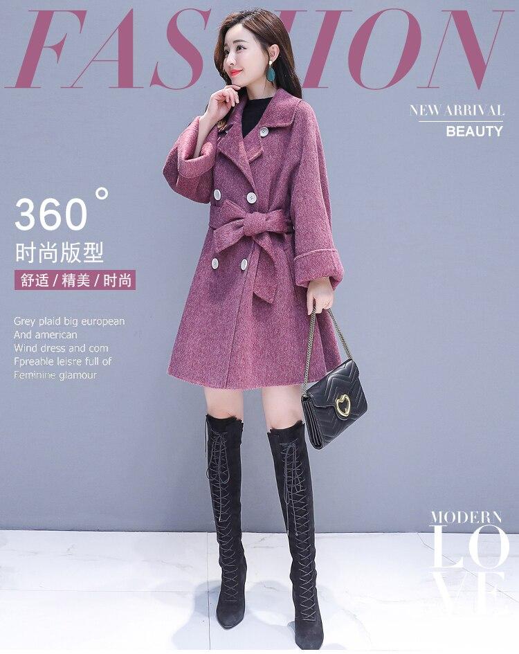 Avec Vêtements Pour Manteau Femmes Dames Peluche B880 D'hiver De gray Nouveau Couleur En Purple Manches Longues Casual Mode Revers Solide 2018 Laine 9DYWHIEe2