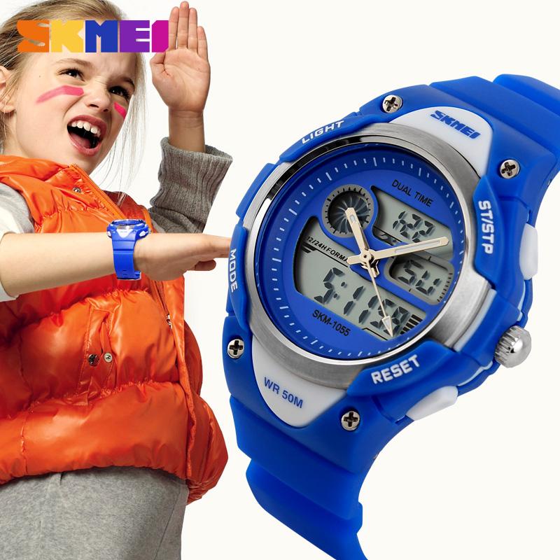 Prix pour Enfants Montre 2 Time Zone Numérique Quartz Étanche Enfants Garçons Filles Montres Casual Sport LED Montre-Bracelet de Robe Fraîche Enfants