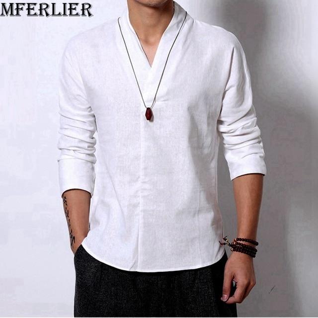 0d56884dbe30 MFERLIER Men Linen t-shirts summer 2018 Casual 5XL plus size big Loose  tshirt vintage V-neck t-shirt japan style tops white cool