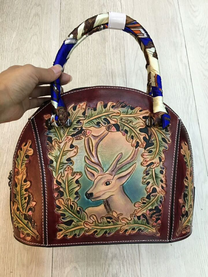 2017 new arrival hand carving animal flower pattern genuine leather women shell handbags female bags fashion designer new arrival ship pattern design brooch for female