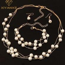 Искусственный жемчуг, ювелирный набор, искусственный жемчуг, двойной слой, женские серьги, ожерелье, браслет, наборы для свадьбы N271