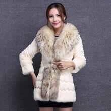 2016 hot real rabbit fur coat fashion long jacket ladies genuine fur coat black with raccoon fur collar Women Winter Fur Outwear