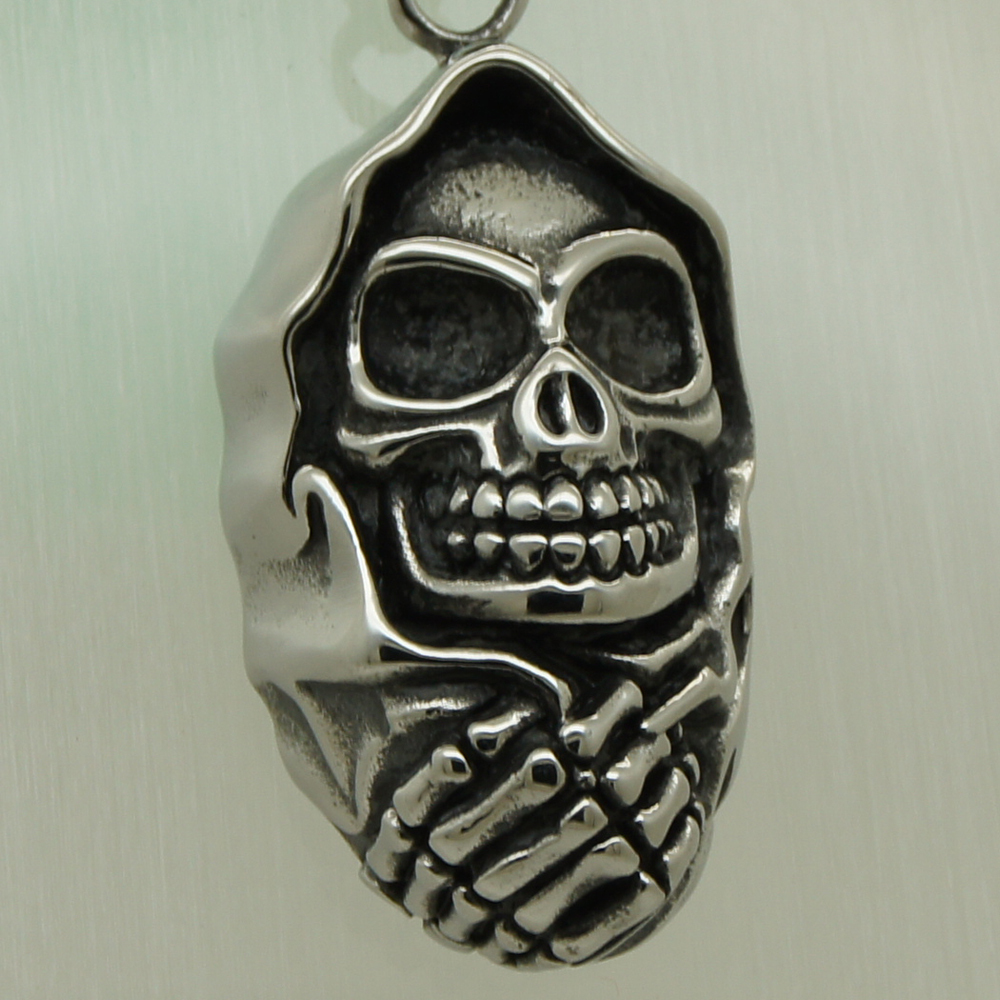 hand hold scarf skull 316L stainless steel biker necklaces & pendants free shipping men jewelry
