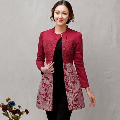 Original brand 2015 ethic spring women Slim high waist dress trench coat red embroidery lace patchwork windbreaker S - 2XL D4043