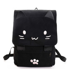 Cute Cat Canvas Backpack Cartoon Embroidery Backpacks For Teenage Girls School Bag Casual Black Printing Rucksack Mochilas