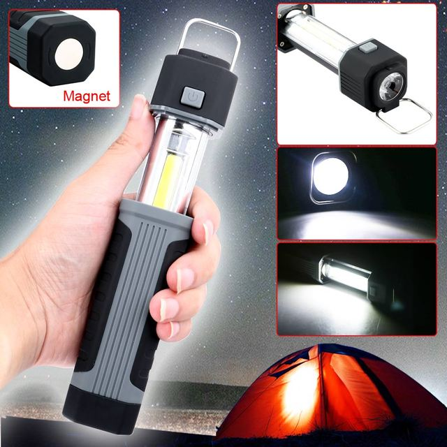 2 in1 3W COB LED Stretchable Flashlight Torch Working Lamp with Strong Magnet