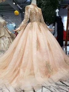 Image 4 - Pełne rękawy suknie balowe luksusowe muzułmanin różowy na szyję koronki wysadzane perłami suknia balowa 2020 wieczorowa, formalna Party spacer obok ciebie
