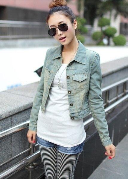dc1c7550819 Free shipping hot sale 2013 fashion vintage girl short design denim coat  long-sleeve jacket jean jacket female