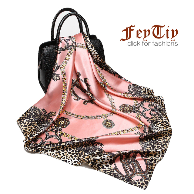 Fashion Women Scarf Luxury Brand Pink Leopard Hijab Silky Satin Shawl Scarfs Foulard Square Head Scarves Wraps 2018 NEW 90x90cm