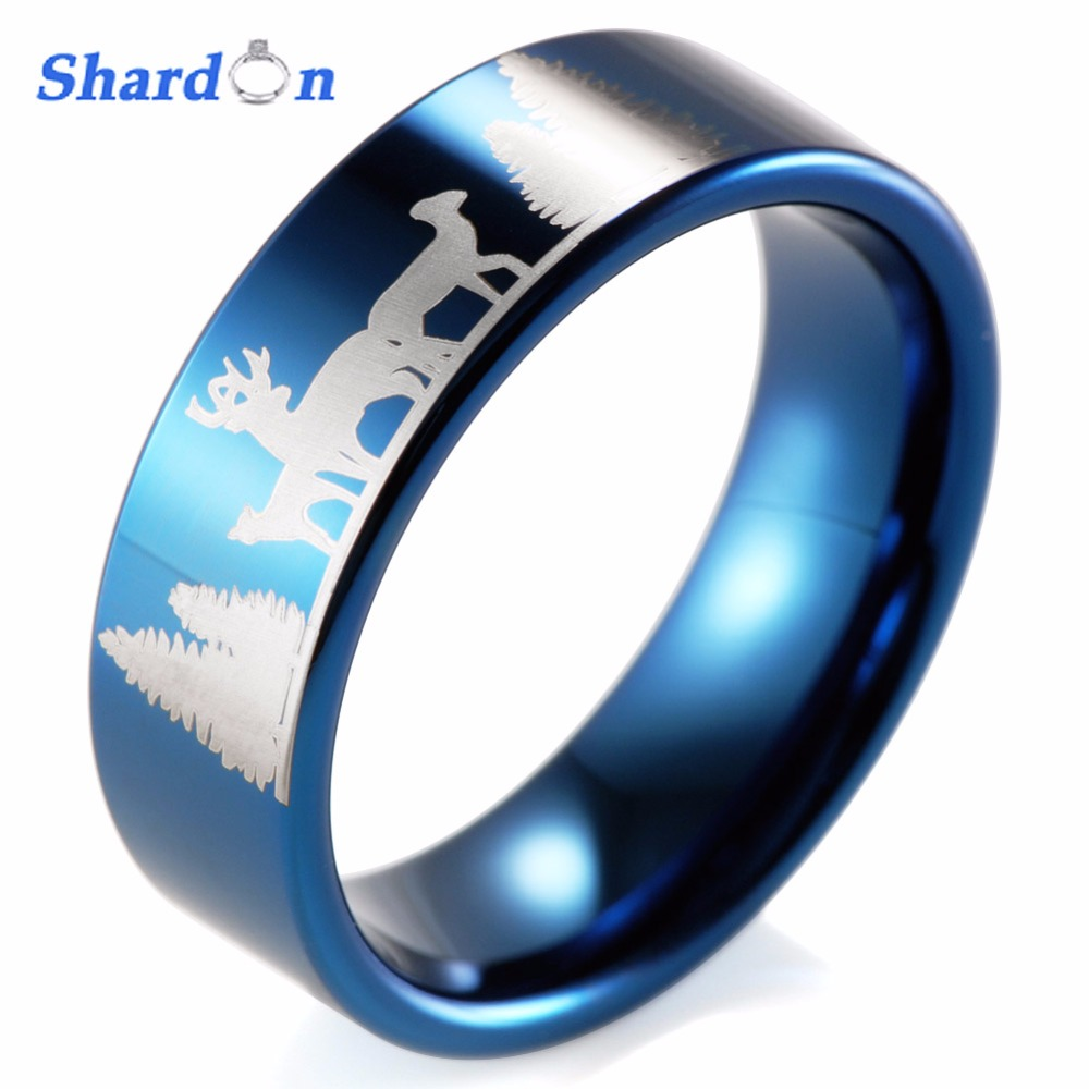 SHARDON IP blue plated Tungsten ring with mountain and animals ...